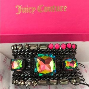 JUICY COUTURE-black mesh & stones cuff bracelet